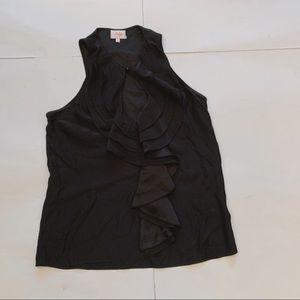 Parker Sleeveless Silk Riffled Shirt